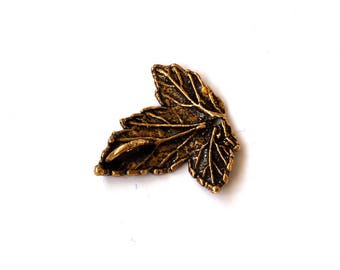 5 PCS Currant Leaf Connector Real Leaf Charm Bronze Link Brass Pendant Copper Leaf Silver Leaf Unique Beads Craft Supplies Jewelry Findings