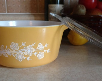 Gold Butterfly Pyrex 1.5L 474 B Casserole Dish with Pyrex Lid 474 C 35 Circa 1979-1981-Redesigned Butterfly  Pattern,Ovenware,Made in USA