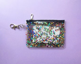 Rainbow Holographic Glitter Card Holder Wallet Keychain