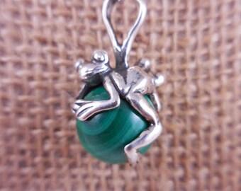 Vintage Malachite Frog Sterling Silver Pendant Necklace