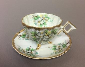 NAPCO Original Hand Painted White Flowers Lusterware Three Legged Tea Cup & Saucer, SD180