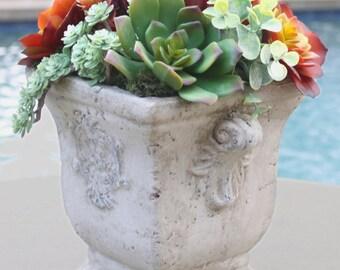 Faux Succulent Arrangement in Concrete Planter, Artificial Succulents, Artificial Succulent Arrangement, Faux Succulent Centerpiece