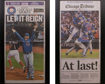 Two Framed Chicago Tribune Cubs World Series 2016  Newspaper