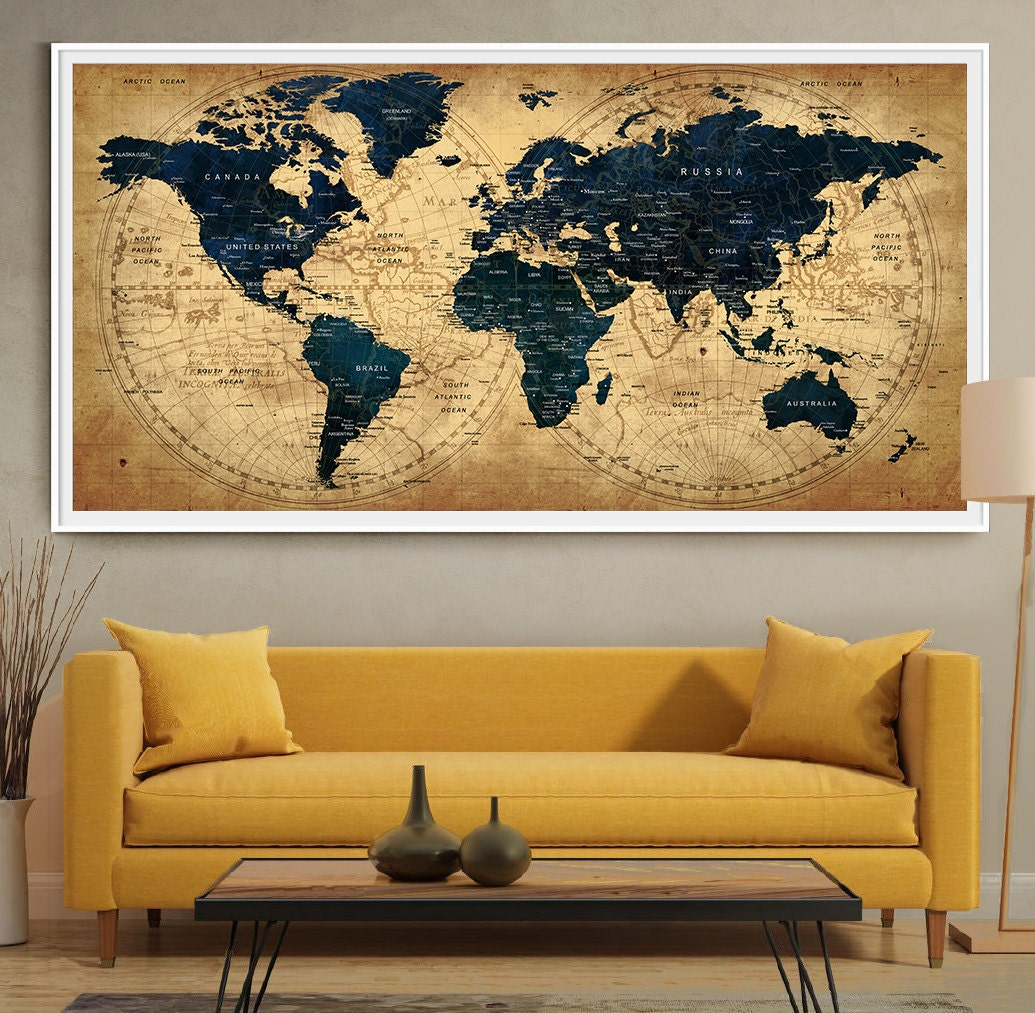 Decor World: Decorative Extra Large World Map Push Pin Travel Wall Art