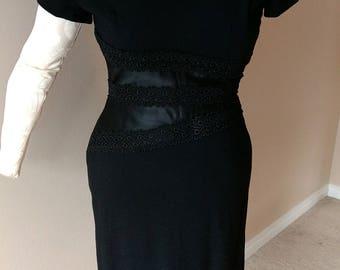 Black Vintage Wiggle Dress 1950's 1960's
