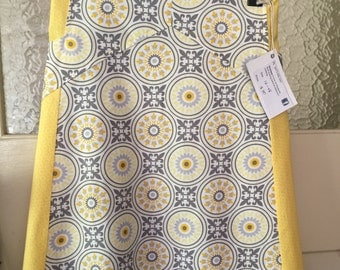 Ladies A-line skirt, size 16 AU.  On Sale.  yellow skirt, grey skirt, woman, women, geometric skirt, pockets, made in Australia