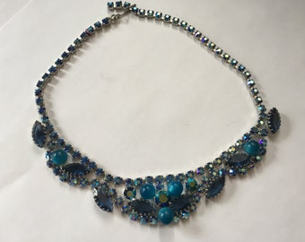 Juliana D&E Blue Cats Eye Beads, AB Blue and Blue Rhinestone Necklace