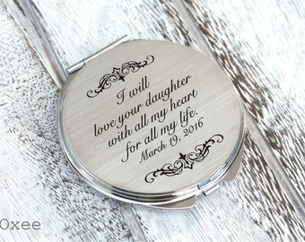 Personalized engraved pocket mirror | compact mirror | wedding gift | mother of the bride gift from groom | birthday