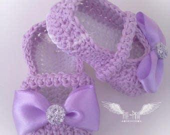 Crochet baby ballerina shoes * Baby booties * Baby shoes * Newborn booties *Baby slippers