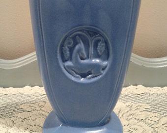Robinson Ransbottom Pottery 230 - Art Deco - Blue Antelope Vase