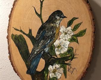 Wood slab original painting