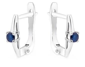 Sapphire Earrings Round Cut Earrings Gemstone Earrings Solitaire Earrings Sapphire Bridal Earrings Sapphire Wedding Earrings Blue Earrings