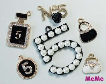 1 Set 6 Pcs Charms Alloy Bag Medallion 5 Kawaii Bracelets Pendants Accessories Studs Cabochon Deco Den Phone Case DIY Deco kit PP013