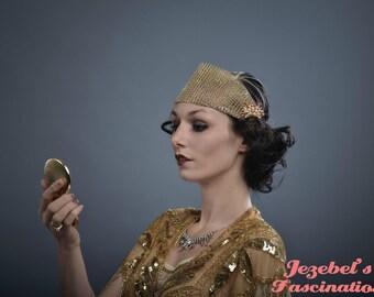 1920s Gold Gatsby Flapper Headband Circus Burlesque Exotic Lounge Goddess Costume Showgirl Costume Fascinator Nouveau Headpiece Headdress