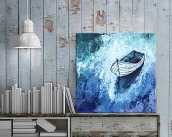 Boat decor, Abstract Boat painting, Palette knife art, Seascape art, Sailing boat, Coastal wall art,  Tropical art, Boat art, Nikki Chauhan