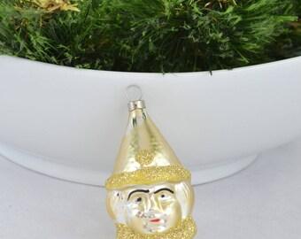 Vintage Figural Czechoslovakian Christmas Ornament, Czech Little Girl Glass Ornament