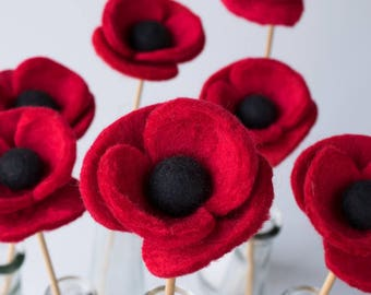 Felt Poppy Flower - Wool felt flower stem, Artificial flower arrangement in vase, Handmade wet felted flower bouquet.