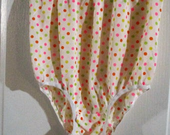Vintage Colorful  Polka Dot Granny Panties Briefs  Nylon High Waist  Small to Medium (reserved)