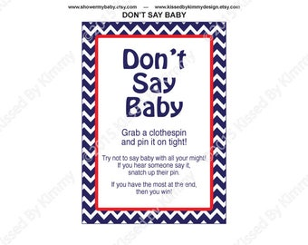 Nautical Baby Shower Games   PRINTABLE Baby Shower Donu0027t Say Baby Game    Clothespin
