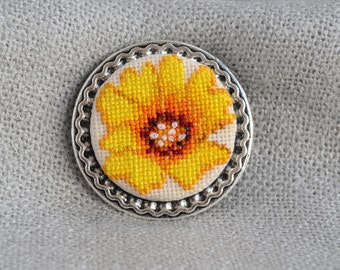 Flower brooch Cross stitch brooch Embroidered jewelry Yellow flower Handmade brooch Yellow brooch Flower jewelry Unique brooch Birthday gift