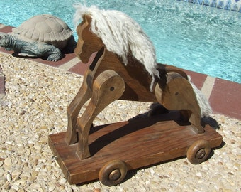 Antique Horse Toy Decor, Wood Toy Decor, Vintage Pull Horse Toy, Push Toy Horse Decor, Rolling Horse Toy, Wooden Horse, Horse On Wheels,