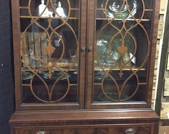 1940-50 Hutch, Mahogany, inlay/burled wood, Eagle Finial - LOCAL Alexandria Pick Up Only