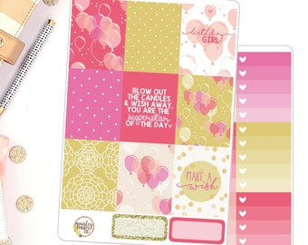 Birthday Girl Weekly Planner Stickers Kit for use in Erin Condren Birthday Week Planner Stickers Kit