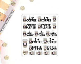 Coffee Lover Coffee Quotes Planner Stickers