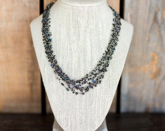 Vintage Necklace - Purple Blue Dark Sequin Beads with Multi Layered Chain Necklace - Fashion Necklace