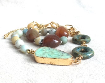 Authentic Turquoise Wrap Bracelet, choker necklace green beaded bracelet gold Amazoninte gemstone bracelet cuff ceramic bracelet stone