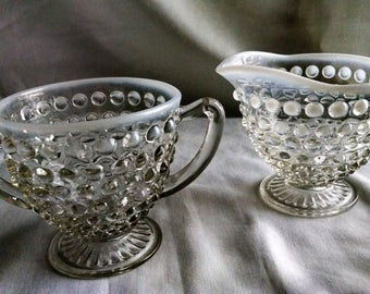 Anchor Hocking Moonstone Opalescent Hobnail Footed Creamer and Sugar set.