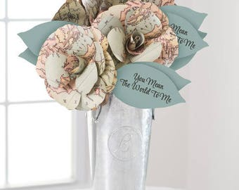 "Paper Flowers BOUQUET ""You Mean the World to Me"" WORLD MAP Roses Handmade, Custom, Fast Ship! Paper Anniversary, Grad, Send Paper Blooms"