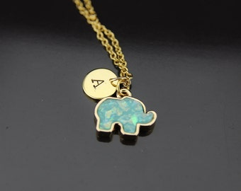 Gold Elephant Charm Necklace Elephant Mint Green Imitation Opal Charm Elephant Necklace Gold Necklace Personalized Necklace Initial Necklace