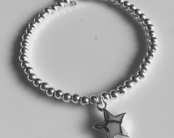 Sterling Silver Bracelet with Silver Star Charm