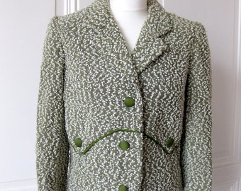 Vintage Bouclé Blazer, short jacket, costume jacket with collar, 40 - 50 years