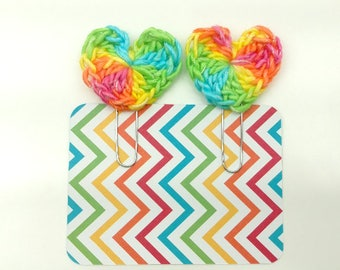 Rainbow Crochet Heart  Planner Paperclip/Bookmark/Clip Set of 2     [068]