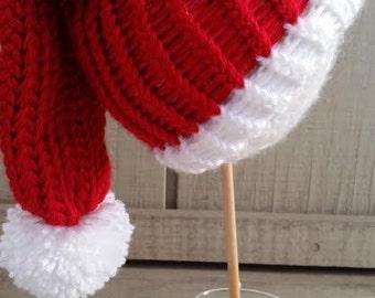 Baby Santa Hat _ Babies First Christmas _ Christmas Photography prop _ Loom Knitted Santa Hat