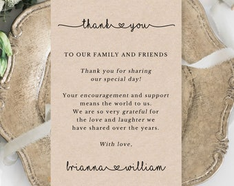 Rustic Wedding Thank You Cards Template - Printable Editable Wedding Thank You Cards - Table Thank You Cards - Thank You Sign