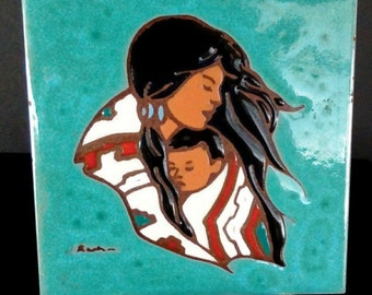 Vintage Native American Turquoise Wall Tile/Trivet, Mother and Child, Made in Italy