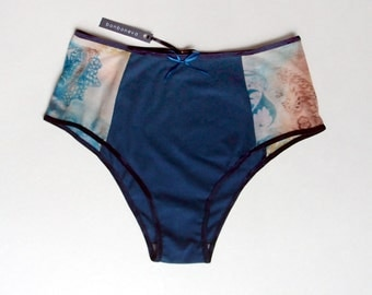 Deep Riverside Blue Cotton and Printed Mesh French Cut Knickers Girlfriend Gift Sexy High Waist Sheer Panties with No Side Seams