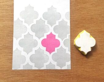 Quatrefoil stamp, pattern rubber stamp, quatrefoil eraser stamp, texture stamp, handmade pattern rubber stamp, hand carved stamp