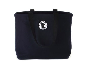 Minnesota Tote Bag, Lakeside Canvas Tote, Navy Canvas Tote