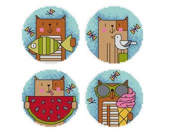 Summer Cats - set of 4 - Durene J Cross Stitch Pattern