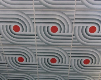 FIXIT - Space Age Pop Original Package with 5 Self-Adhesive Tile Decors - Gray and Orange Optical Pattern - New  Old Stock - 1970s