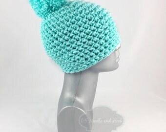 Aqua Crochet Beanie with Pom, Light Teal Crochet Hat, Aqua Winter Beanie With Puff, Pom Pom Knit Hat, Toque, Ski Cap