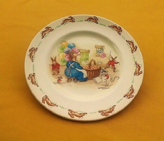 Vintage Bunnykins Plate By Royal Doulton Made in England Signed by Barbara Vernon, Collectible Children's Plate Bunnies Design, Baby Dish
