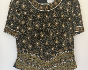 Vintage 1980s Papell Boutique Evening Silk And Beaded Black and Gold sz XL Blouse Womens Top
