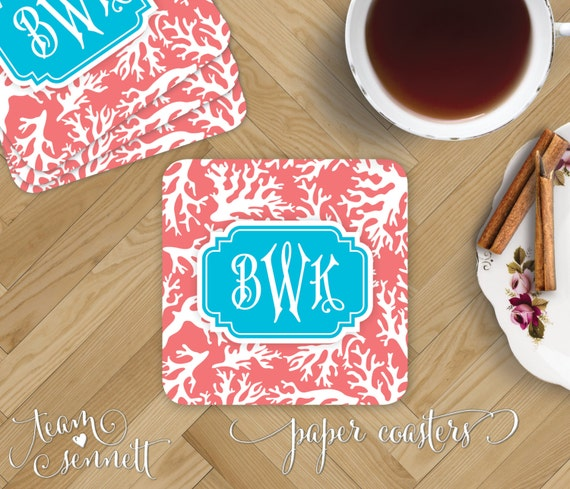 Coral Paper Coasters Monogrammed Disposable Drink Coasters