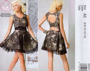 McCall's 6647 Sewing Pattern Free Us Ship Stephanie Backless Peek a boo Lace Dress Size 6/14 14/22 Bust 30 31 32 34 36 38 40 42 44 2012 new