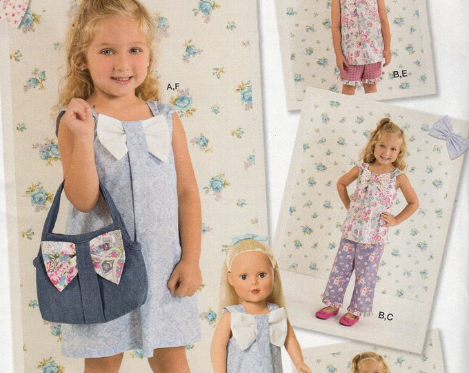 """Simplicity 1475 Free Us Ship Ruby Jean's Closet Girls Bow Dress Size 3 4 5 6 7 8 Matching Purse 18""""Doll Clothes Wardrobe New Sewing Pattern"""